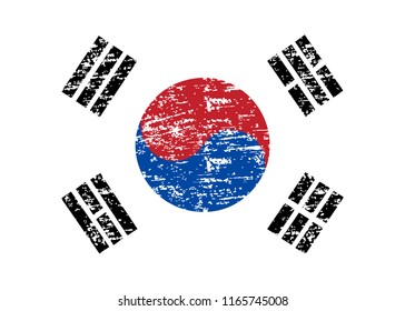 Flag of Korea South. Grunge Flag of Korea South. Flag of Korea South with grunge texture. Vector illustration.