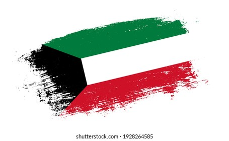 Flag of Kuwait country on brush paint stroke trail view. Elegant texture of national country flag
