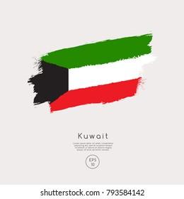 Flag of Kuwait in Grunge Brush Stroke : Vector Illustration