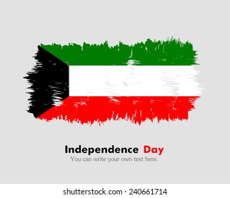 Flag of Kuwait painted brush colored inks. Symbol Independence Day National Patriotic Travel Country Background Grunge Paint Stock Vector Icon Logo Picture Image Illustration Political