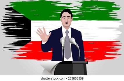 Flag of Kuwait. Political speech speaker. Orator speaks with a vigorous at the podium with a microphone. Image. National Liberation Day Vector. Icon.