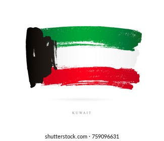 Flag of Kuwait. Vector illustration on white background. Beautiful brush strokes. Abstract concept. Elements for design.