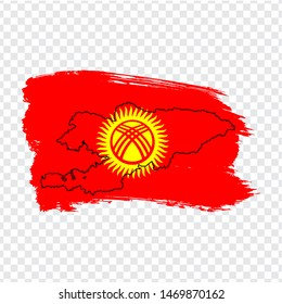 Flag Kyrgyz Republic from brush strokes and Blank map Kyrgyzstan. High quality map Kyrgyzstan and flag on transparent background. Stock vector. Vector illustration EPS10.