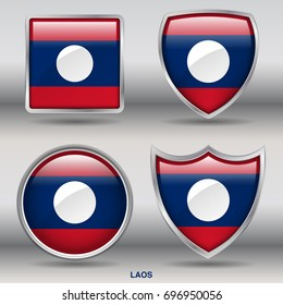 Flag of Laos in 4 shapes collection with clipping path