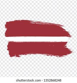 Flag Latvia from brush strokes.  Flag Latvia on transparent background for your web site design, logo, app, UI. Stock vector. Vector illustration EPS10.