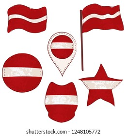 Flag of Latvia Made in Different Variations, as Flag with and without Stick, in a Circle, as Shield, Star and Map Pointer. Flag Shapes with Contours, Decorated with Dotted Stitch and Brush Texture.