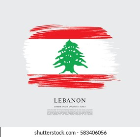 Flag of Lebanon, brush stroke background