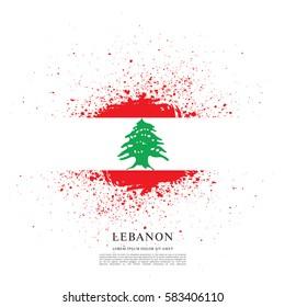 Flag of Lebanon, brush stroke background