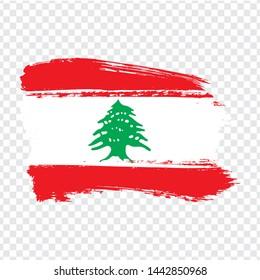 Flag Lebanon from brush strokes.  Flag  Lebanese Republic on  transparent background for your web site design, logo, app, UI. Stock vector. Vector illustration EPS10
