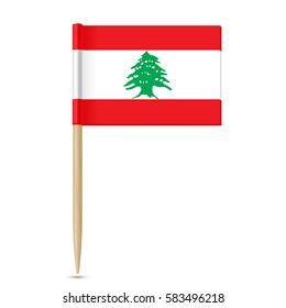 Flag of Lebanon. Flag toothpick on white background 10eps