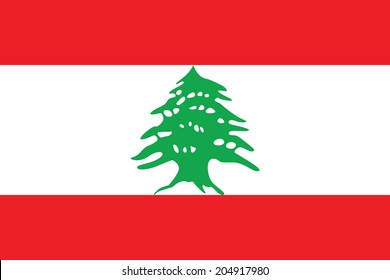 Flag of Lebanon. Vector. Accurate dimensions, element proportions and colors.