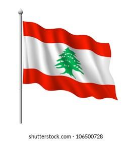 Flag of Lebanon, vector illustration