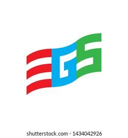Flag with letter EGS logo design vector