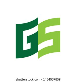 Flag with letter GS logo design vector