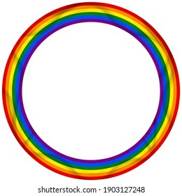 Flag LGBT icon, round frame. Template design, vector illustration. Love wins. LGBT logo symbol in rainbow colors. Gay pride collection.