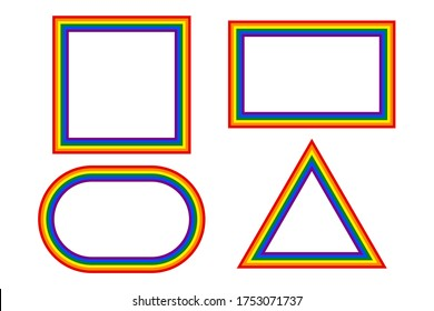 Flag LGBT icons, set with round and squared frames. Template border, vector illustration. Love wins. LGBT logo symbols in rainbow colors. Gay pride collection.