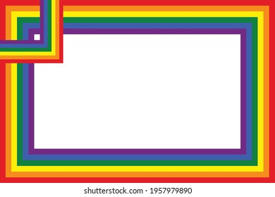 Flag LGBT icons, squared frame. Template border, vector illustration. Love wins. LGBT symbols in rainbow colors. Gay pride collection.