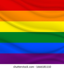 Flag LGBT squared icon, badge or button. Template design, vector illustration. Love wins. LGBT logo symbol in rainbow colors. Gay pride textile background.