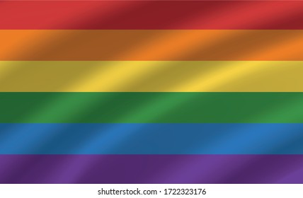 Flag LGBTQ+ wave realistic concept banner, web vector illustration. Internet icon and label LGBT community, pride freedom multicolored design check box.