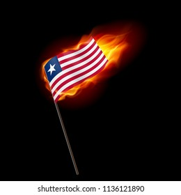 Flag of Liberia. Concept Illustration of Crisis or War Conflict with Liberian flag