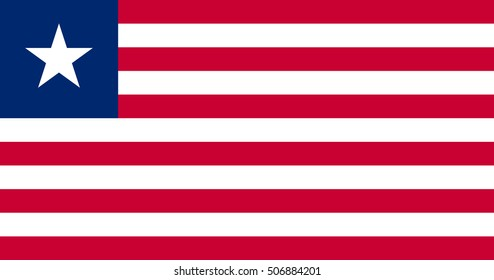 Flag of Liberia in correct size, proportions and colors. Accurate official standard dimensions. Liberian national flag. African patriotic symbol, banner, element, background. Vector illustration