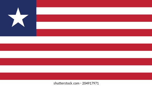 Flag of Liberia. Vector. Accurate dimensions, element proportions and colors.