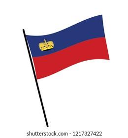 Flag of Liechtenstein , Liechtenstein flag waving isolated vector illustration