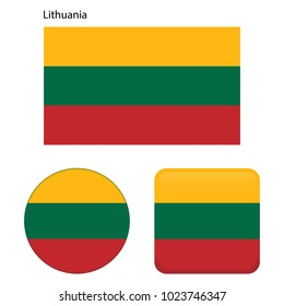 Flag of Lithuania. Correct proportions, elements, colors. Set of icons, square, button. Vector illustration on white background.