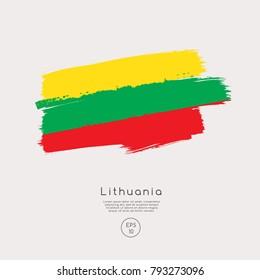 Flag of Lithuania in Grunge Brush Stroke : Vector Illustration