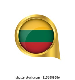 Flag of Lithuanian, location map pin, pointer flag Lithuanian, button gold, Icon country . Vector Illustration EPS10.