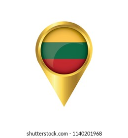Flag of Lithuanian.symbol check in Lithuanian, golden map pointer with the national flag of Lithuanian in the button. vector illustration.