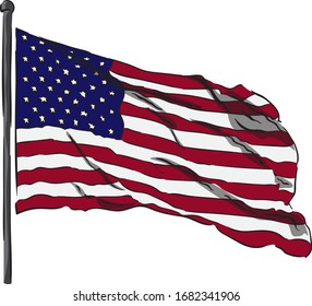 Flag. Logo Set. Icon. Background. Icon. Independence Day. American. United States Of America. IIlustration. Graphic Design