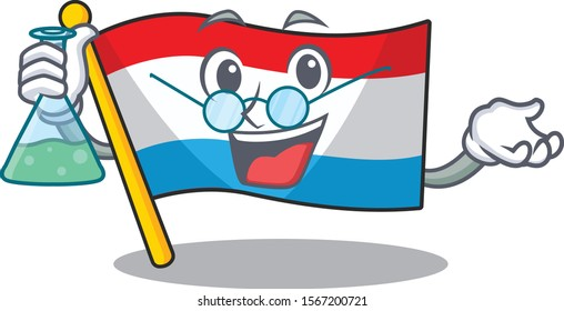 Flag luxembourg as a funny Professor cartoon character holding glass tube