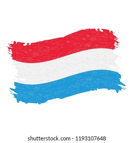 Flag of Luxembourg, Grunge Abstract Brush Stroke Isolated On A White Background. Vector Illustration. National Flag In Grungy Style. Use For Brochures, Printed Materials, Logos, Independence Day