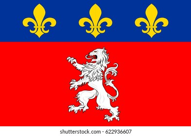 Flag of Lyon or Lyons is a city in east-central France, in the Auvergne-Rhone-Alpes region. Vector illustration