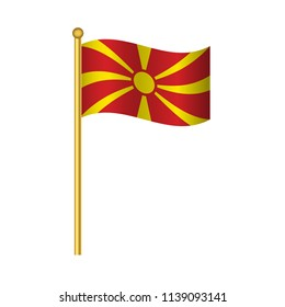 Flag of Macedonia ,Macedonia flag official colors and proportion correctly, Macedonia flag waving isolated Vector illustration eps10.