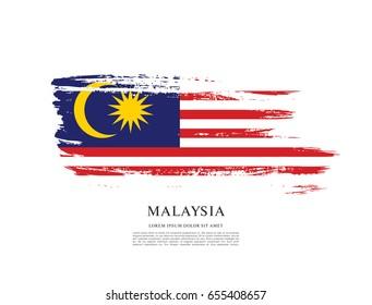 Flag of Malaysia, brush stroke background