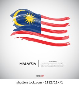 Flag of Malaysia with brush stroke, grunge style background vector.