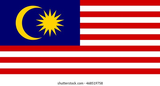 Flag of Malaysia in correct size, proportions and colors. Accurate dimensions. Malaysian national flag.