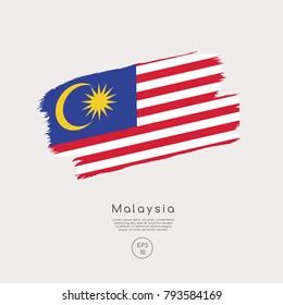 Flag of Malaysia in Grunge Brush Stroke : Vector Illustration
