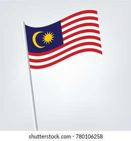 Flag of malaysia , Malaysia Flag Icon vector illustration,Malaysia flag waving on white background, close up, isolated with clipping path mask alpha channel transparency.