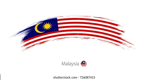 Flag of Malaysia in rounded grunge brush stroke. Vector illustration.