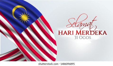 Flag of Malaysia. Selamat Hari Merdeka holiday. Translate: Malaysia Independence day background.  Template for poster, banner, flyer, invitation, etc.
