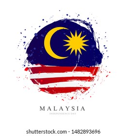 Flag of Malaysia in the shape of a big circle. Vector illustration on a white background. Brush strokes are drawn by hand. Independence Day.