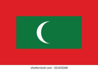 Flag of Maldives, national country symbol. Vector illustration of Maldives flag