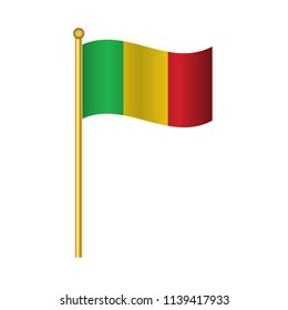 Flag of Mali ,Mali flag official colors and proportion correctly,Mali  flag waving isolated Vector illustration eps10.