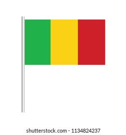 Flag of Mali.Mali Icon vector illustration,National flag for country of Mali isolated, banner vector illustration. Vector illustration eps10.