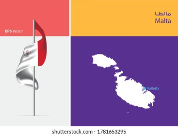 Flag of Malta on white background. Map of Malta with Capital position - Valletta. The script in arabic means Malta