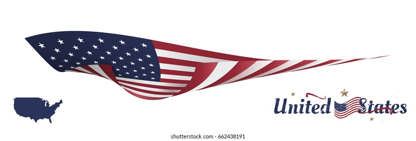 Flag and map of america on white background. Flat vector illustration EPS10.