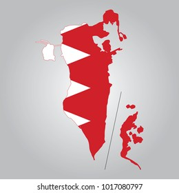 Flag map of Bahrain